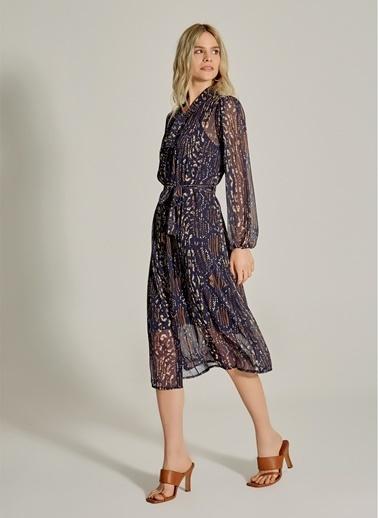 NGSTYLE Fular Yakalı Desenli Elbise Lacivert